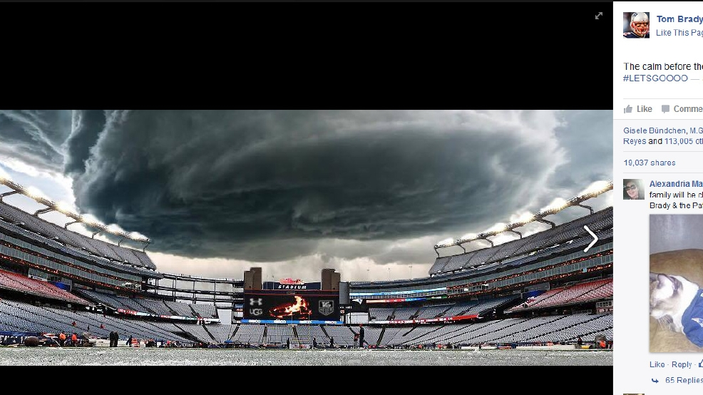 Tom Brady posts awesome storm pic before Pats game. Too bad it's fake
