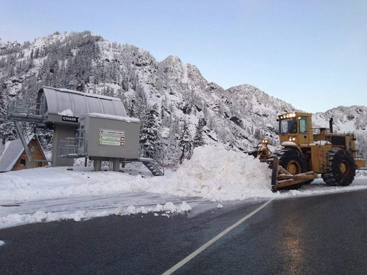 Workers clear a pile of snow that fell at Mt. Baker ski resort over the weekend of Nov. 2, 2013. (Photo: Mt. Baker Ski Resort)